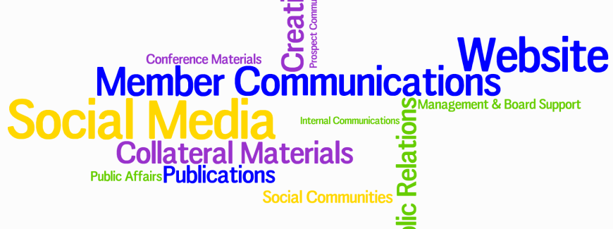 Word Cloud Illustrating Communications Job Functions in an Association