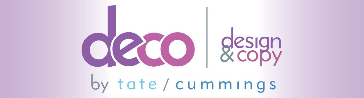 deco by tate/cummings design and copy logo
